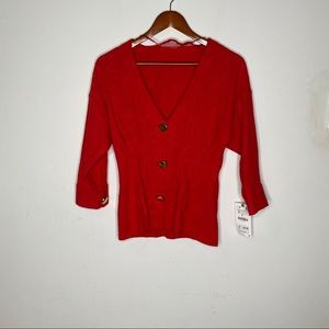 Zara red with gold botton v-neck blouse top